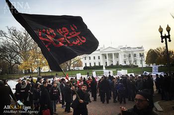 اهتزاز پرچم عزای حسینی مقابل کاخ سفید, شیعیان آمریکا در محکومیت تروریسم راهپیمایی کردند